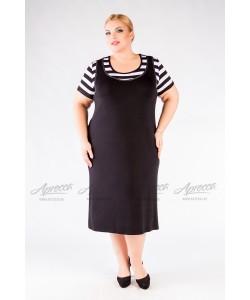 Платье  PP21603BLK59 цвет полоска черный