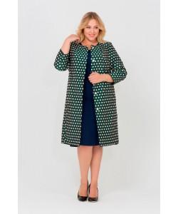 """Пальто """"Горох""""цвет темно-зеленый"""