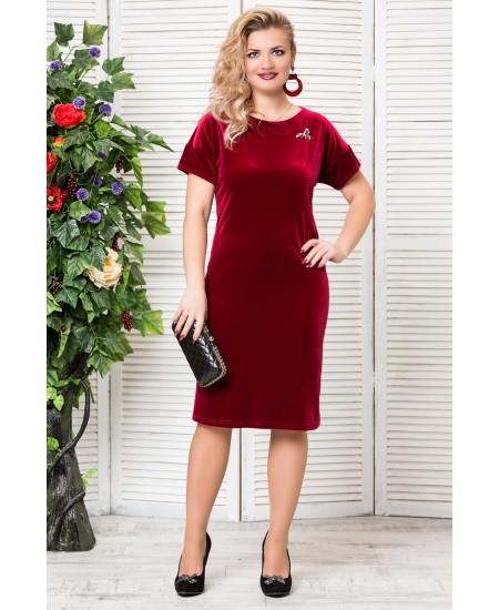 """Платье """"Бархат """"с брошкой  цвет бордо"""