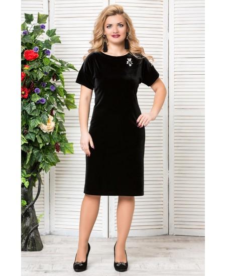 """Платье """"Бархат """"с брошкой  цвет черный"""