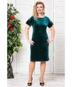 """Платье """"Бархат """"с брошкой  цвет зеленый"""