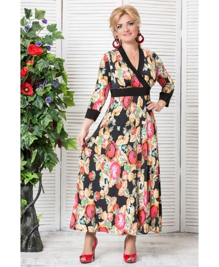 """Платье """"Сакура """"  цвет черные цветы"""