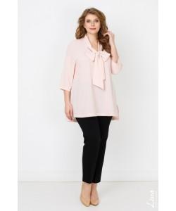 "Блуза  ""Бант"" цвет горох белый на розовом"