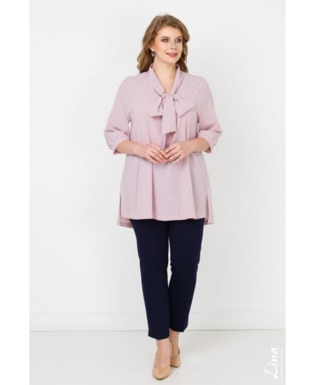 "Блуза  ""Бант"" цвет горох синий на розовом"