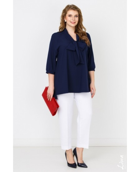 "Блуза  ""Бант"" цвет синий"