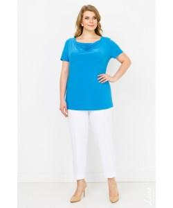 """Блуза  """"Мила"""" цвет голубой темный"""