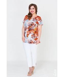 """Блуза  """"Вдохновение"""" цвет оранж-цветы"""