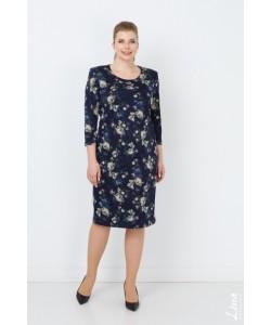 """Платье """"Есения2 """" цветы бежевые на синем"""