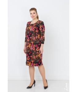"""Платье """"Есения2 """" цветы на коричневом"""