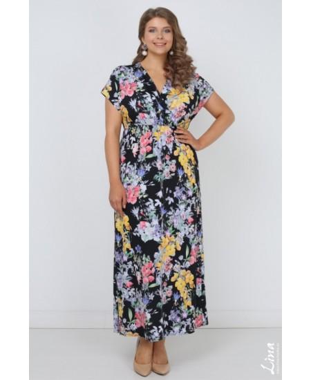"""Платье """"Луиджи"""" цвет цветы на черном"""