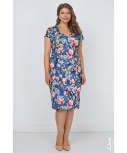 """Платье """"Олисия"""" цвет цветы на синем"""