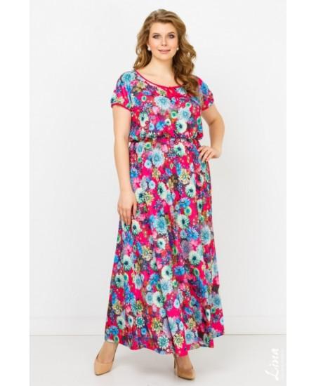 """Платье """"Полька"""" цвет цветы на розовом"""