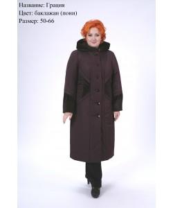 Пальто зимнее Грация баклажан