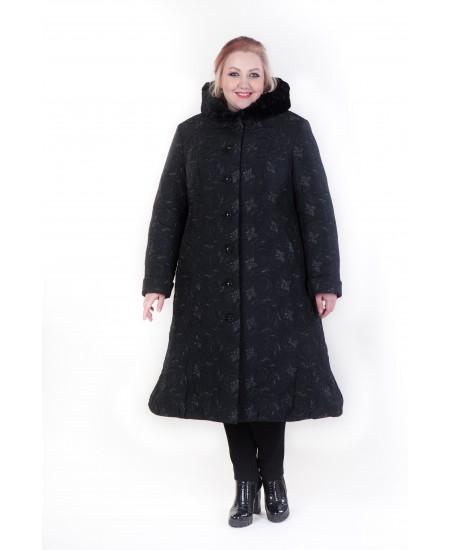 """Зимнее пальто """"Латиша"""" черный цветок"""