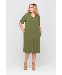 Платье-рабашка  416097 цвет хаки