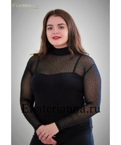 Женская водолазка сетка-комби-горох цвет черный