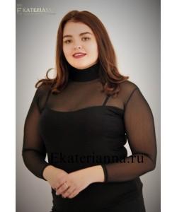 Женская водолазка сетка-комби цвет черный